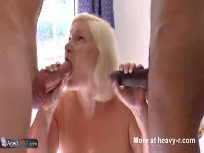 Mature Suckign Off Two Cocks