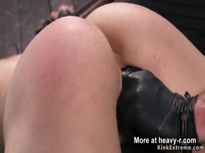 Hot brunette finger fucked in bondage