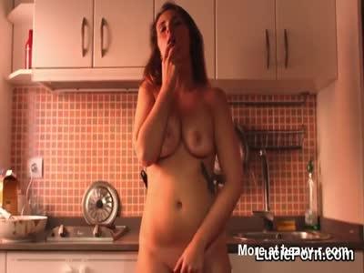 Masturbating Naked In The Kitchen