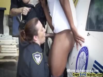 Police babes outdoors interracial oral threesome