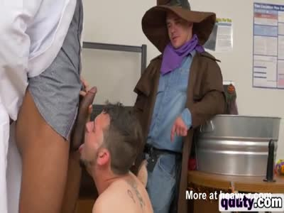 Gay costume party ends up in hot threesome for these guys