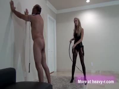 Sadistic Mistress Whips Slave