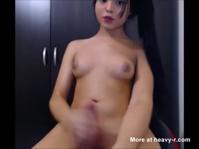 Ladyboy Playing with her Hot Cock