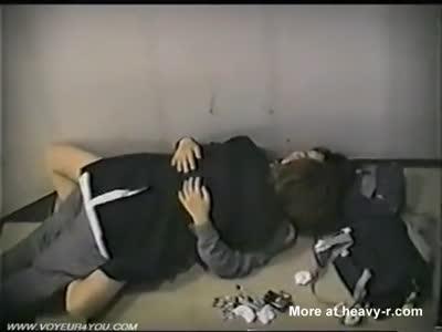 Young schoolgirl and schoolboy caught having sex