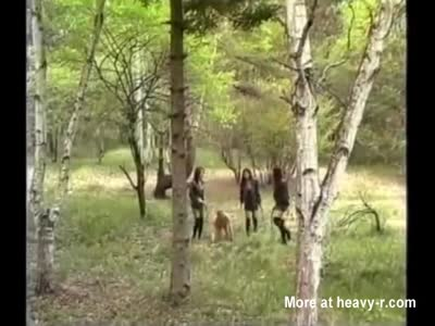 Three Japanese Mistresses punish slave in the woods