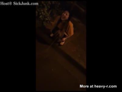 Drunk Girl Peeing On The Street