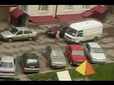 Naked lunatic jumping on cars