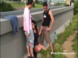 Threesome Next To Highway