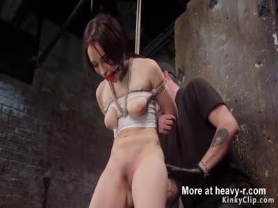 Spreaded legs slave dildo fucked