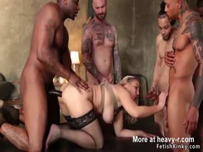 Super hot blonde gets orgy gangbang