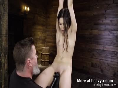 Small tits slave vibed and fingered
