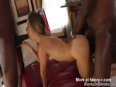 Blonde Slut Divided Up By Two BBC