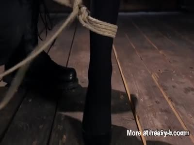 Hogtied babe tortured with vibrator