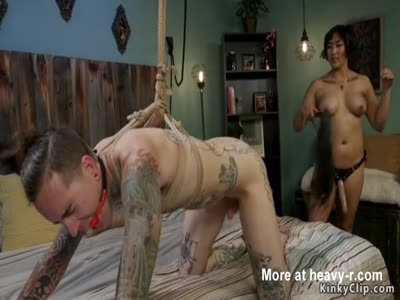 Hairy Asian Mistress Whipping Inked Dude