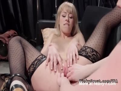 Blonde vibed with strap on up her ass