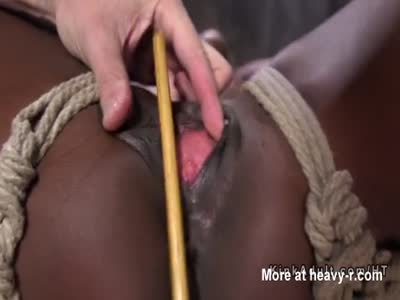 Bound Ebony Caned On Clit