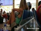 Downblouse Sideboob At Airport