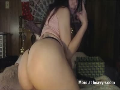 Busty Brunette Cougar Masturbatig With Black Dildo
