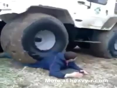 Russian Man Lets Off Road Vehicle Run Him Over