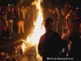 Car plows into Giants fans at street bonfire