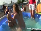 Naked Girls Wrestling In Pool