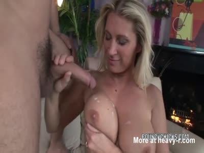 Ejaculating On Big Juicy MILF Tits