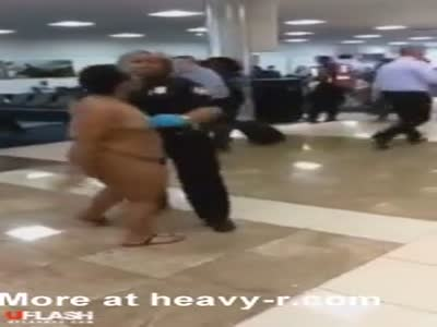 Crazy Woman Walking Naked At Airport