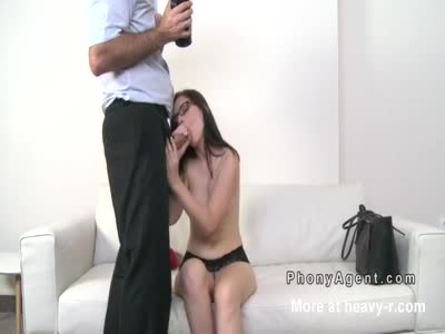 Pale brunette gets creampie at casting