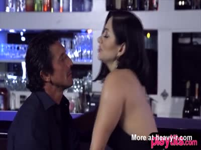 Awesome brunette in heels gets fucked in a bar