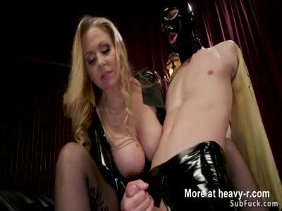 Huge tits blonde dom anal fucks male