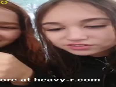 Schoolgirls first lesbian kissing challenge