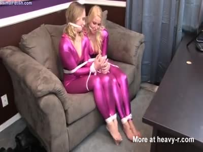 Hotties Bound And Gagged In Latex Catsuits
