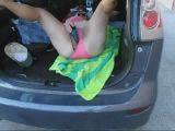 BBW masturbating in car