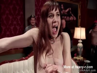 Lesbian slaves made to fuck big cock at orgy