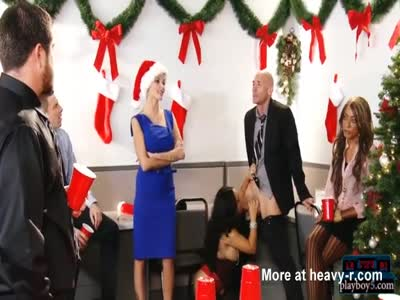 Asian busty MILF fucks at a Christmas party at work