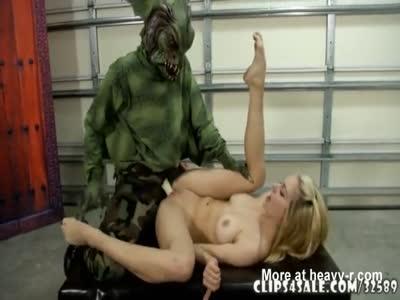 Monster Attacks Naked Blonde
