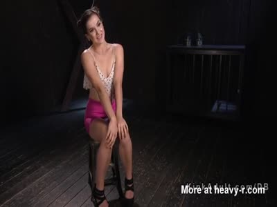 Babe bound standing on one leg gets cunt toyed