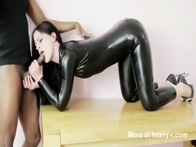Black Latex Cat Suit Girl Sucking Cock