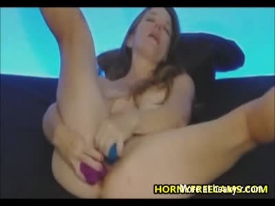 Hardcore Dildo DP For Brunette MILF
