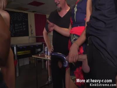 Czech slave lady sucking in public