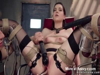 Slut gets toyed in gyno chair bondage