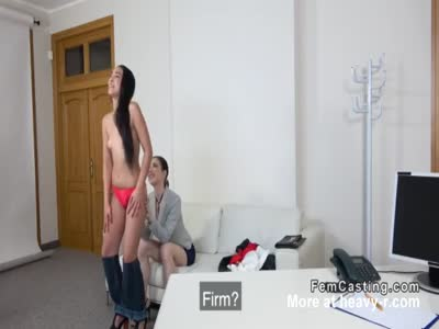 Female agent licks and toys babe