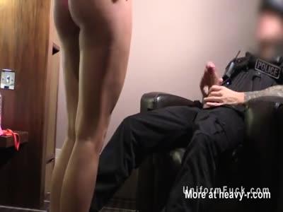 Fake cop sprayed busty blonde with cum