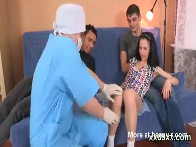 Dude assists with hymen checkup and penetrating of virgin cu