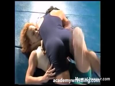 strap-on dildo sex between Lesbian on Academy Wrestling