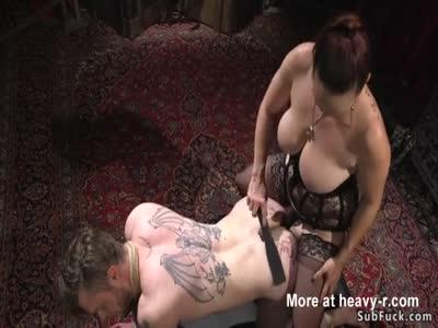 Busty Slut Anal Fucking Male Slave