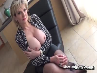 Horny Mature Lady Touching Boobs