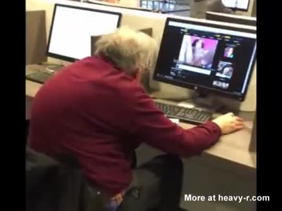 Grandpa Caught Watching Porn In Public Library