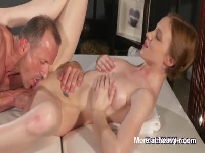 Masseur Bangs Redhead Babe