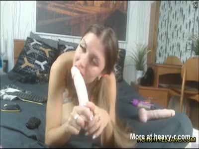 Schoolgirl Fucks Pussy And Ass